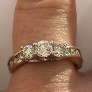 Jewelry - 10K Solid Gold Three Stone Genuine Diamond Ring